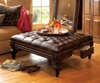 Square Leather Ottoman Coffee Table | Coffee Table Design ...