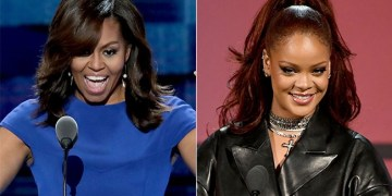 Michelle Obama and Rihanna. Photos by Getty Images. Collage by Phelokazi Mbude/W24