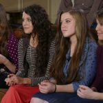 Jessa, Jinger, Joy-Anna, and Jana Duggar sitting on a couch for an interview