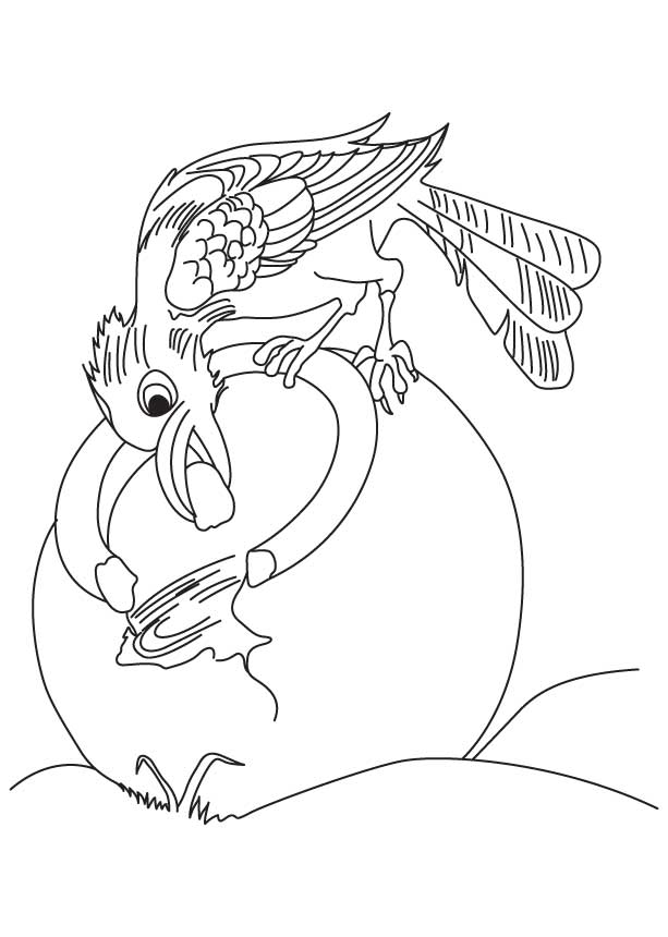 Crow quenching his thirst on a hot day coloring page