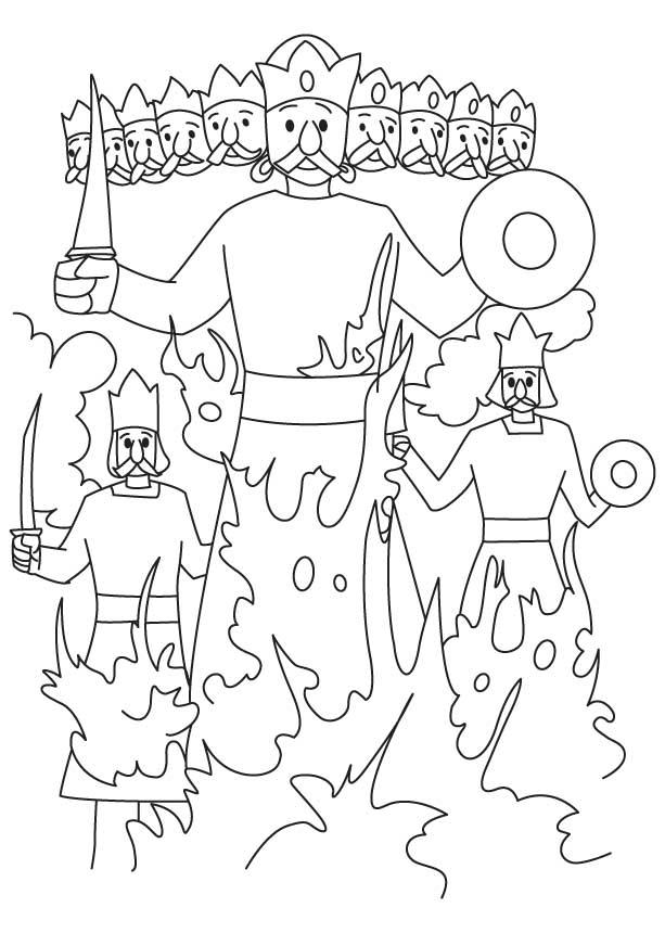 Rahwana Kumbhakarna Meghnaad effigy coloring page