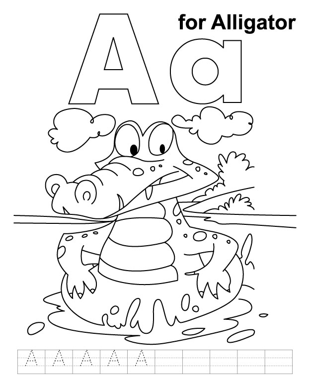 A for alligator coloring page with handwriting practice