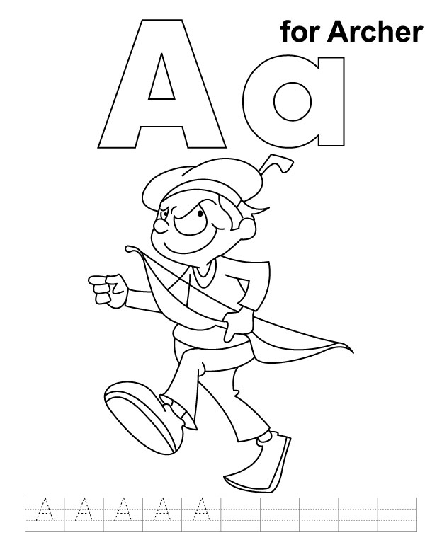 A for archer coloring page with handwriting practice