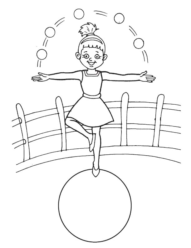 Acrobat Performing On Rope Coloring Page