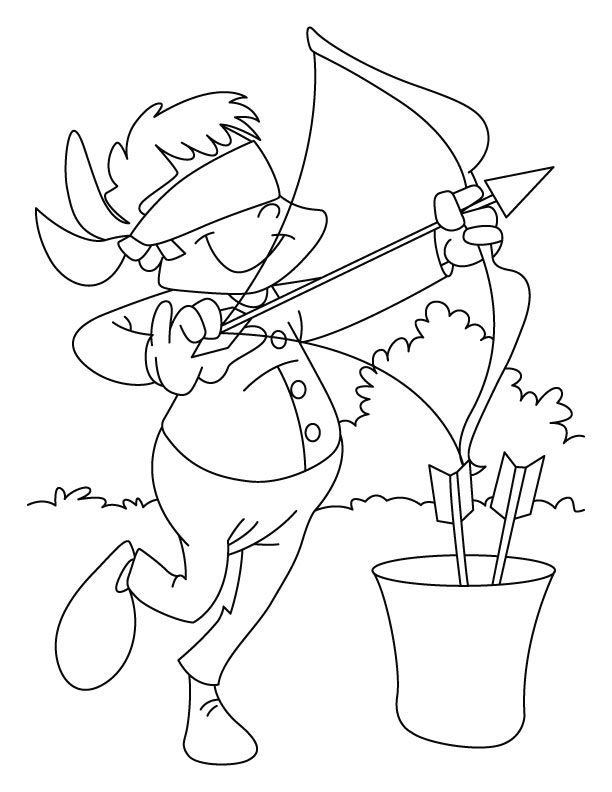 Boy Targets An Arrow Coloring Page