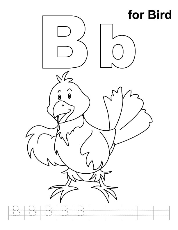 B for bird coloring page with handwriting practice