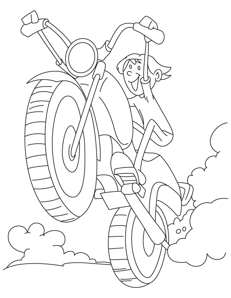 A boy driving a motorcycle very fast coloring page
