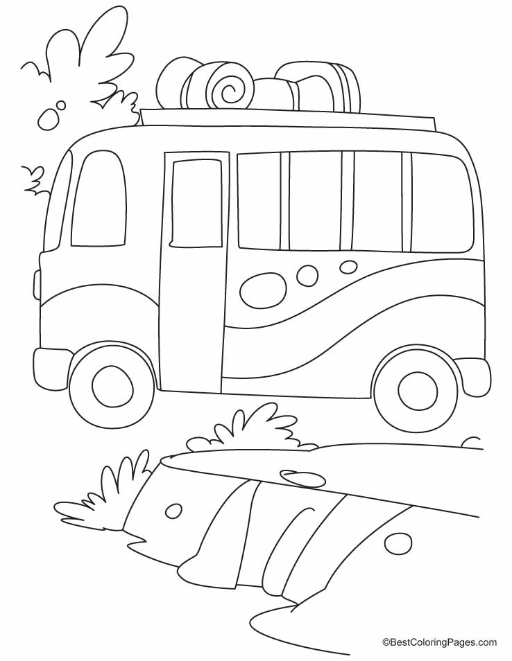 Bus is on the move with baggages of travellers coloring