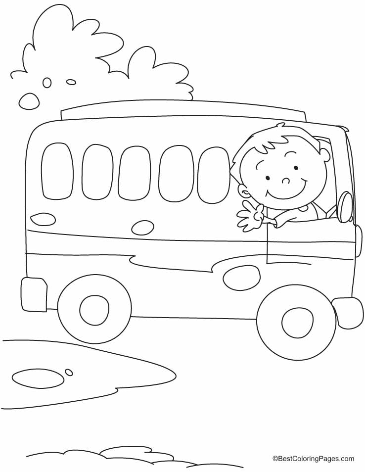 The bus driver says OK, TATA, Bye-Bye coloring pages