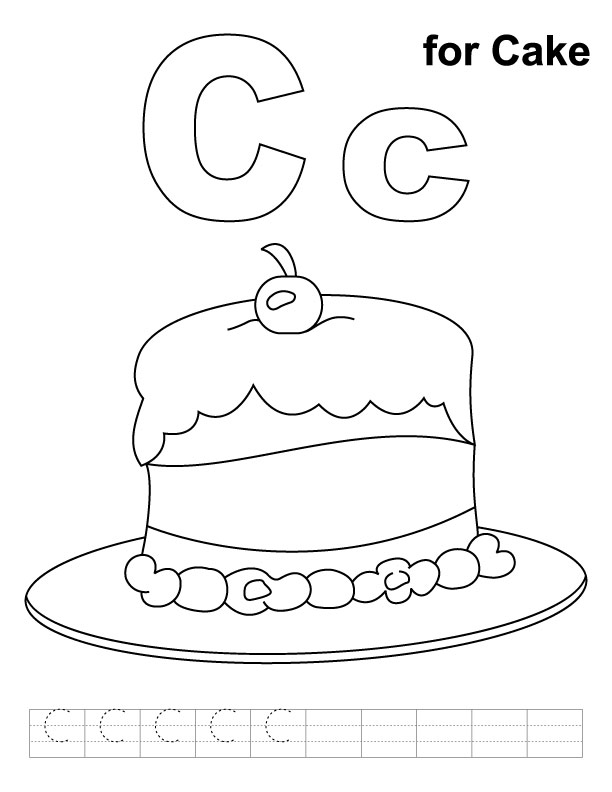 C for cake coloring page with handwriting practice