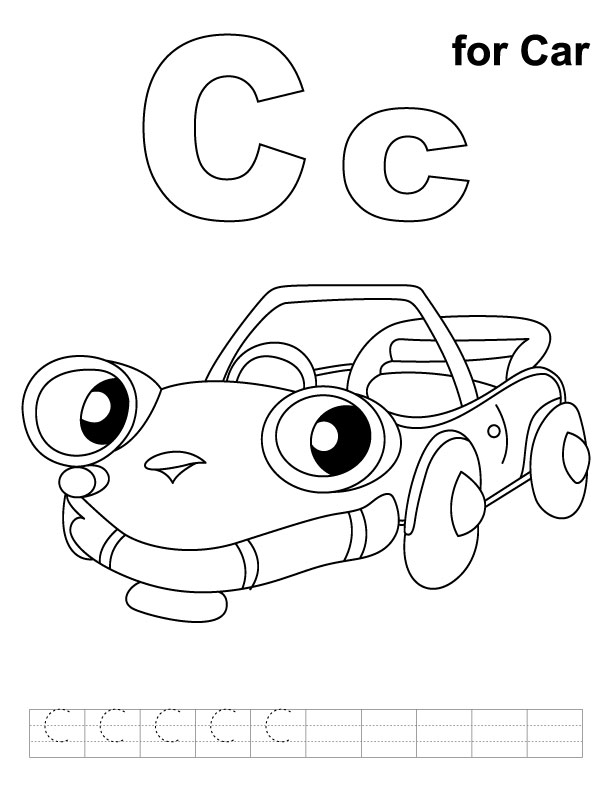 C for car coloring page with handwriting practice
