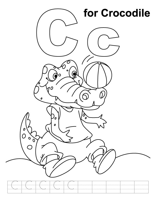 C for crocodile coloring page with handwriting practice