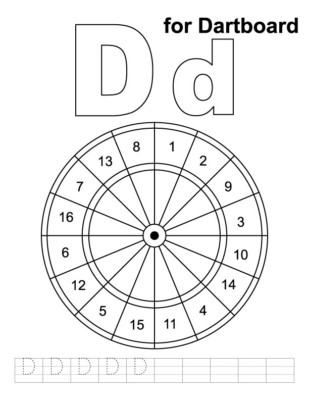 D for dartboard coloring page with handwriting practice