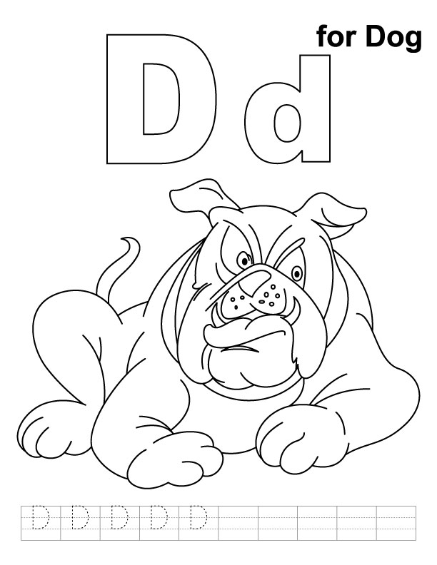 D for dog coloring page with handwriting practice