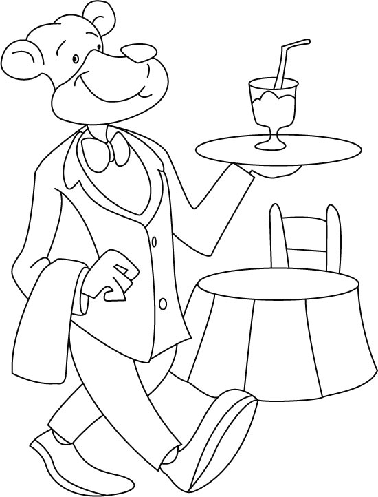 Faithful servant-dog at your service coloring page