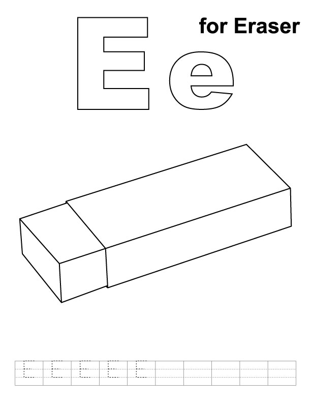 E for eraser coloring page with handwriting practice
