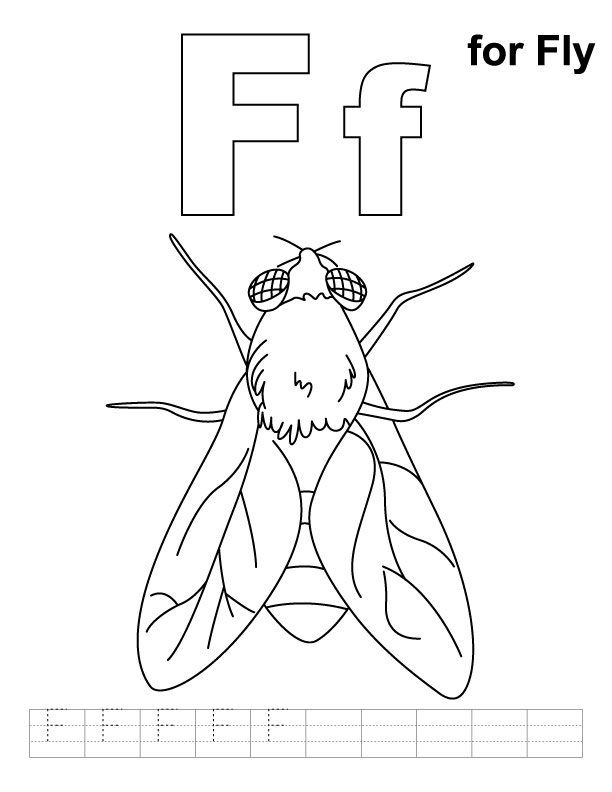 F for fly coloring page with handwriting practice