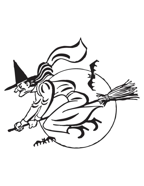 Flying Witch Coloring Page Download Free Flying Witch