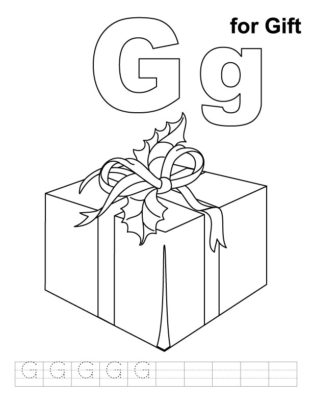 G for gift coloring page with handwriting practice