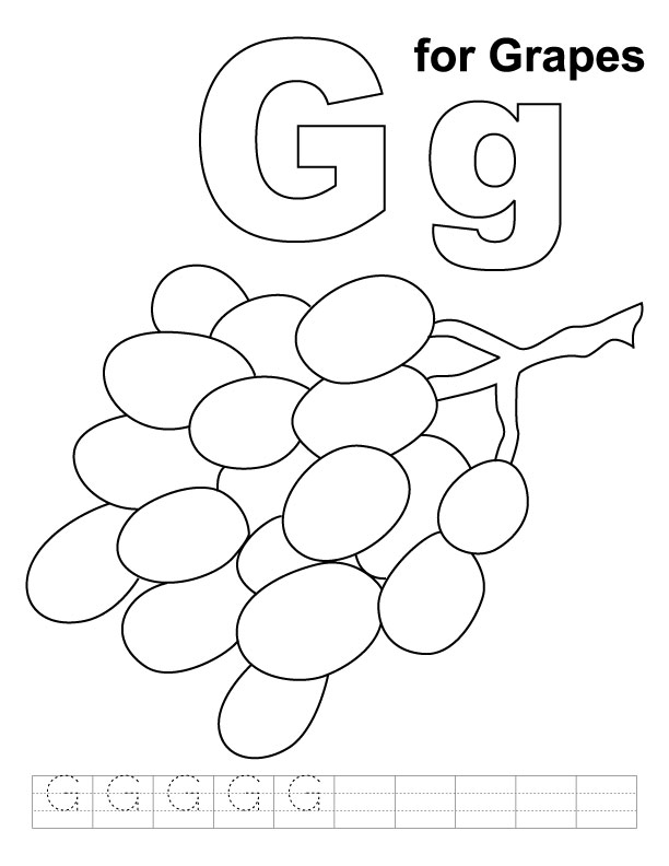 G For Grapes Coloring Page With Handwriting Practice Download Free G For Grapes Coloring Page With Handwriting Practice For Kids Best Coloring Pages