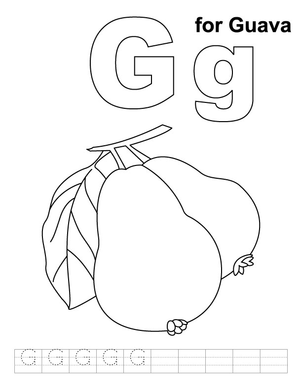 G for guava coloring page with handwriting practice