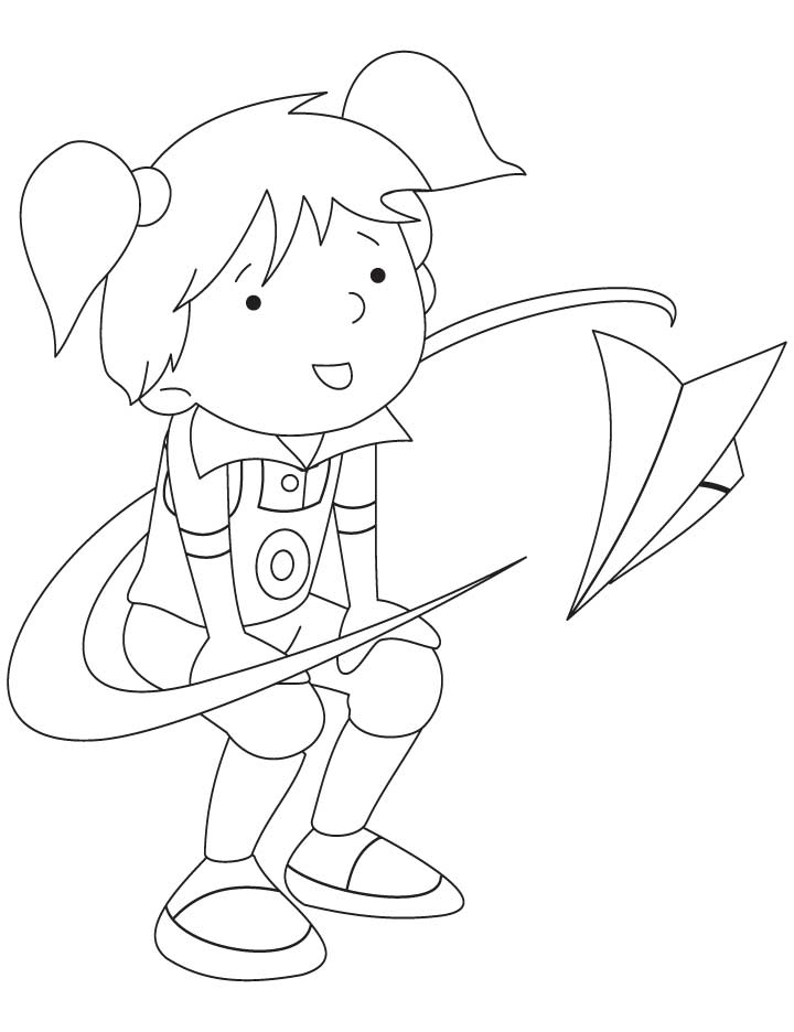 Pinki Flying A Paper Airplane Coloring Pages Download