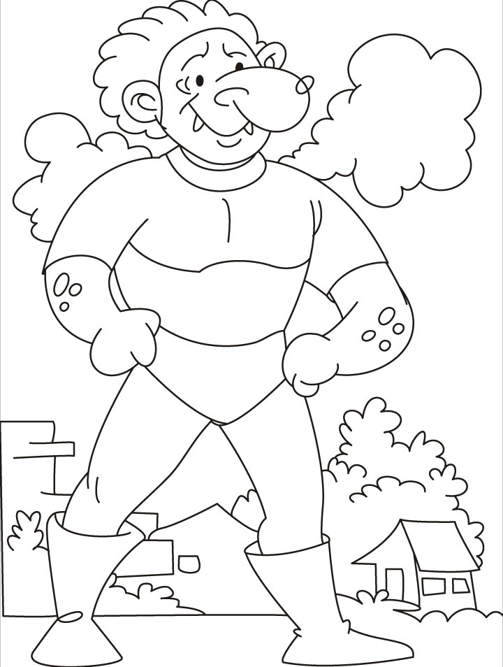 Come, test your strength says the tarzan giant coloring