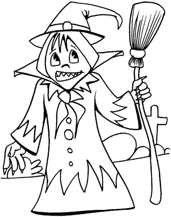Wishing you a happy wicked Halloween Day coloring pages