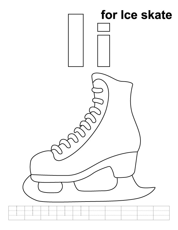 I for ice skate coloring page with handwriting practice