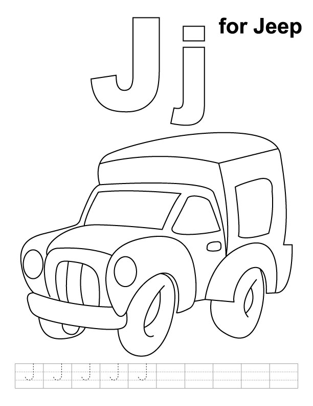 J for jeep coloring page with handwriting practice