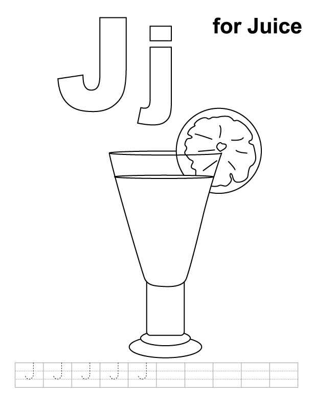 J for juice coloring page with handwriting practice