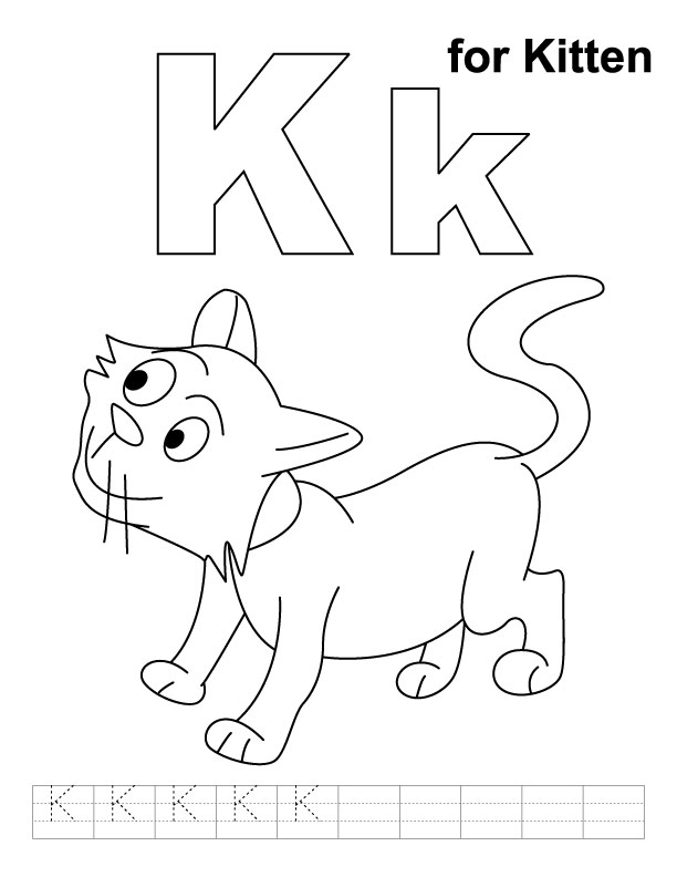 K for kitten coloring page with handwriting practice