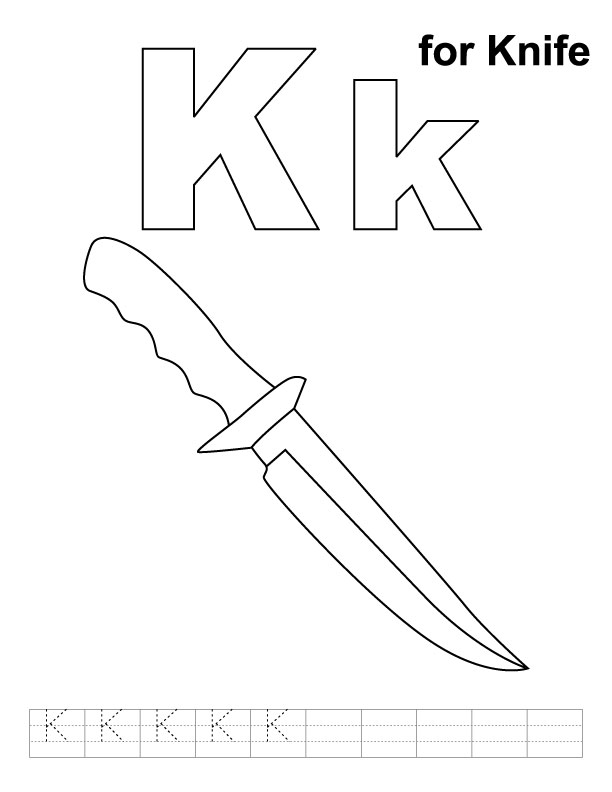 K for knife coloring page with handwriting practice