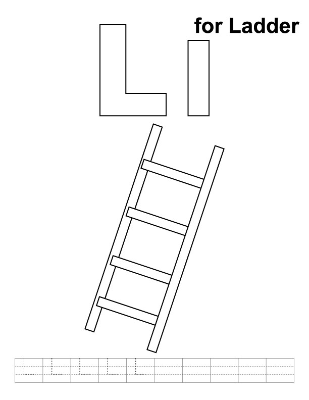 L for ladder coloring page with handwriting practice