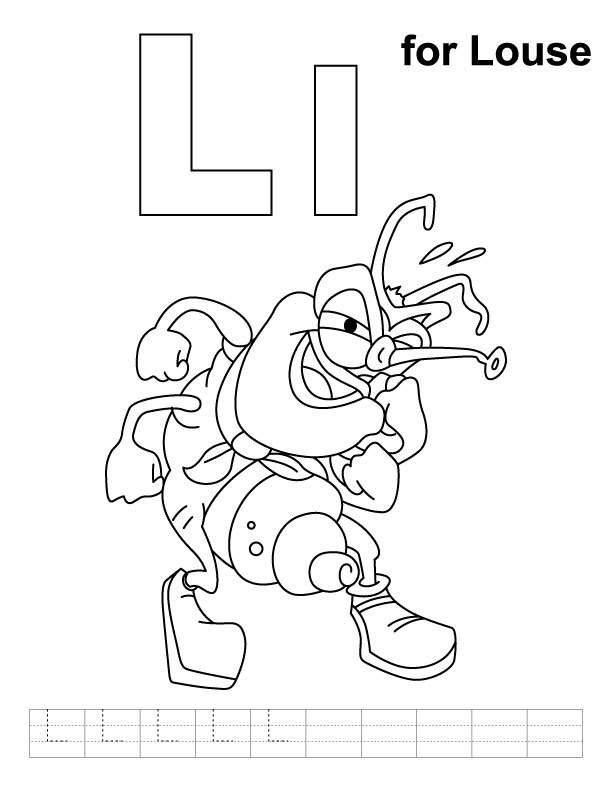 L for louse coloring page with handwriting practice