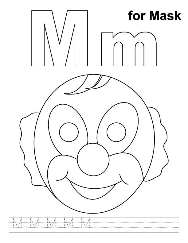 M for mask coloring page with handwriting practice