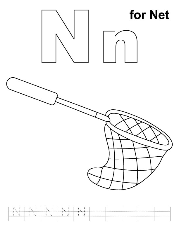 N for net coloring page with handwriting practice