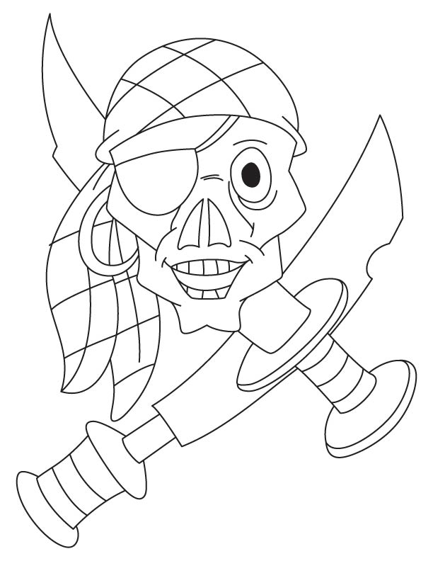 Pirate Skull Coloring Pages Sketch Coloring Page