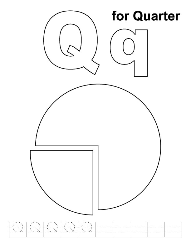 Q for quarter coloring page with handwriting practice