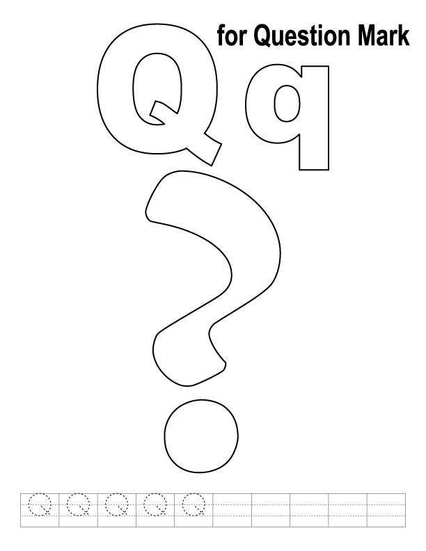 Q for question mark coloring page with handwriting