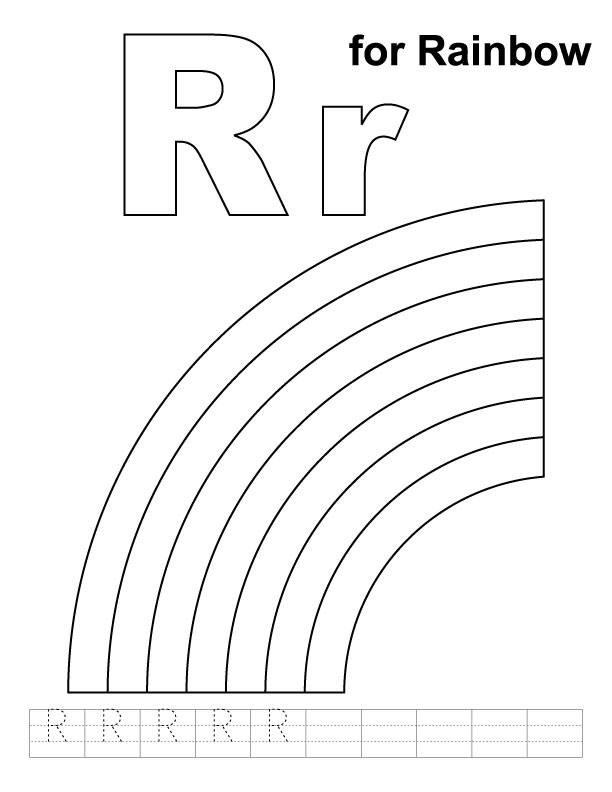 R for rainbow coloring page with handwriting practice
