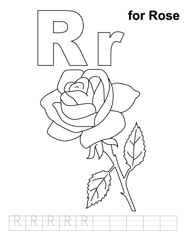 R for rose coloring page with handwriting practice