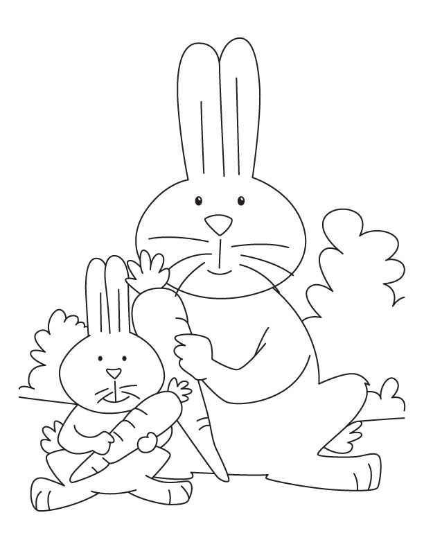 Free rabbit with carrot coloring pages