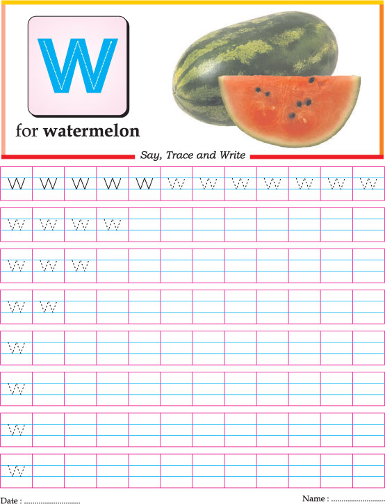 Small Letter W Practice Worksheet