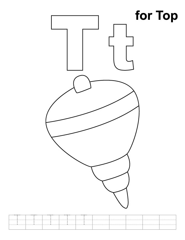 T for top coloring page with handwriting practice