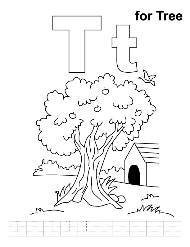 T for tree coloring page with handwriting practice