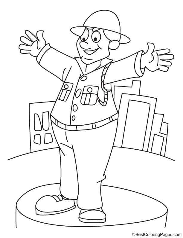 Free coloring pages of police woman uniform