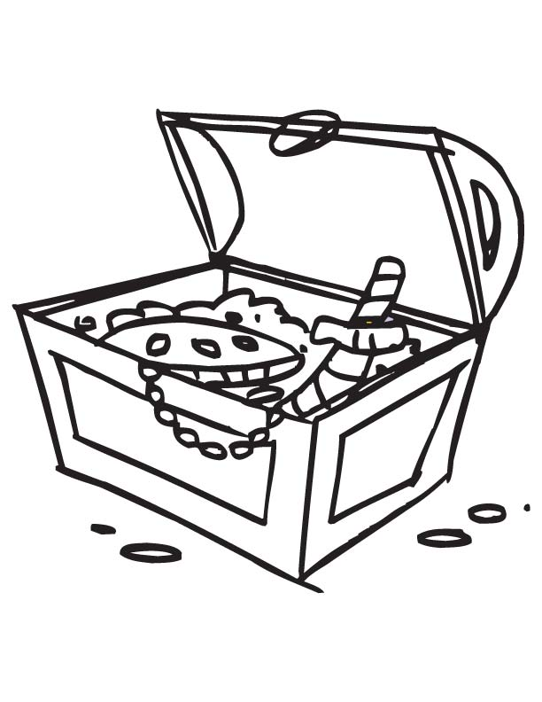 Empty Treasure Box Coloring Page Coloring Pages