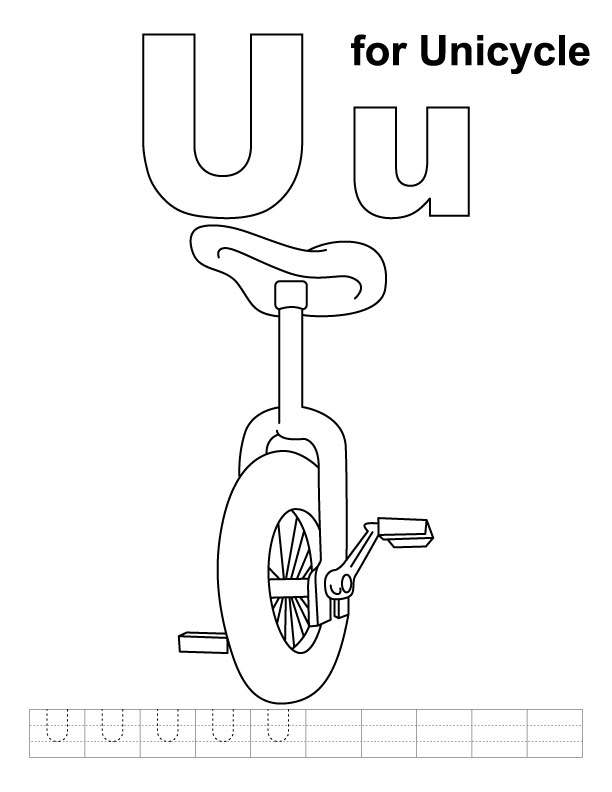 U Is For Umbrella Coloring Page Letter