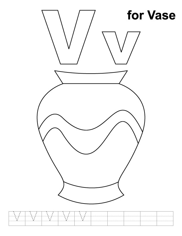 V for vase coloring page with handwriting practice